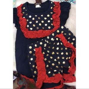 Navy Blue with Gold Polka Dots & Red Ruffles